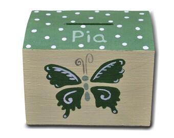 """Piggy bank """"Green butterflies"""""""