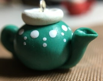 Tea kettle charm necklace