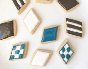 Freshly Baked Mini Sugar Cookies, Diamond Cookies, Black and White, Slate Blue, Masculine Cookies, One Dozen, Simple Cookies, Modern Cookies