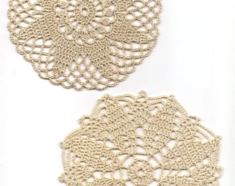 2 Crochet Lace Doily Small Crocheted Doilies Housewarming Gift Home Wedding Decor Handmade Decoration Cotton Textile Art Vintage Set Of 2