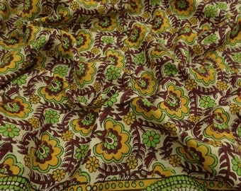 Vintage Clothing Indian Sari Fabric Floral Print 100% Pure Silk Saree Beige Ethnic Art Saree 5YD VPS44712