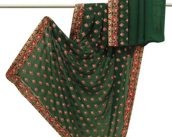Antique Vintage Indian Georgette Green Saree Embroidered Craft Sari Sarong Used Fabric 5 YD VGR6123