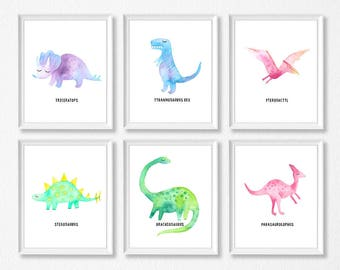 Dinosaur Print Set Of 6, Dinosaur Watercolor Wall Art, Dinosaur Bedroom Art, Dinosaur Nursery, Jurassic, T-Rex Stegosaurus, Triceratops