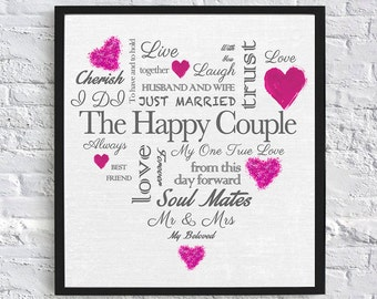 Heart Shaped Wedding Gift - Digital Download (Grey and Pink)