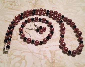 3 piece mauve and purple jewelry set