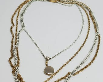 Beautiful & Simple Multiple Chain Necklace with Locket