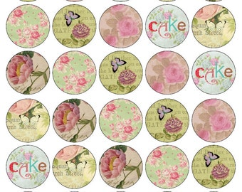 30 Beautiful Shabby Chic Butterflies & Flowers Edible Wafer Cupcake Toppers 1.5inch Circular PRE CUT Ready To Use