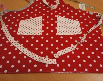 Kitchen apron, cotton red and white spotted