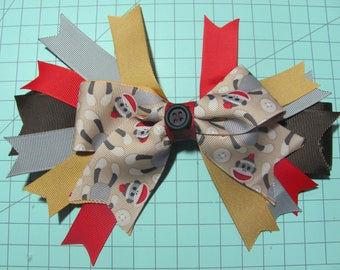 Sock Monkey Brown Fancy Stacked Ribbon Hair Bow