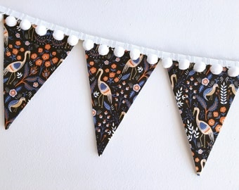 Pom Pom Pennants: Rifle Paper Co- Cotton + Steel Tapestry in Black