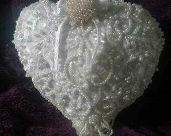 Heart cushion, wedding cushion, ring bearers pillow, pearl cushion
