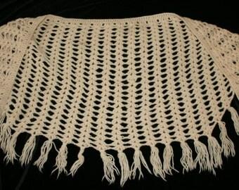 Vintage Aran Wool Crocheted Shawl