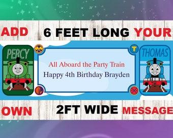 Train theme birthday banner, Happy Birthday Train Banner, Train theme birthday party, Choo Choo I'm Two, Trains