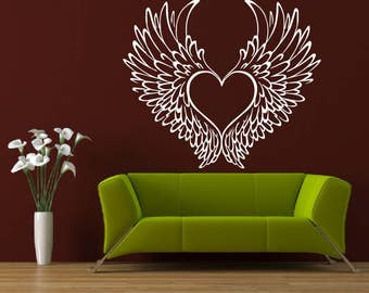 Heart With Angel Wings Vinyl Wall Decal Home Decor a101
