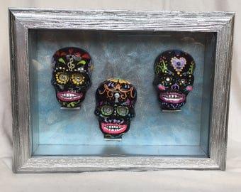 Miniture Sugar Skulls Framed