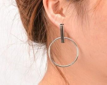 Circle Round Hoop Stud Earrings Korean Jewelry Silver