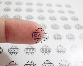 Clear UFO Planner Stickers, Alien Stickers, Space Stickers, Erin Condren Planner Stickers, Happy Planner Stickers, Clear Stickers (st243#)
