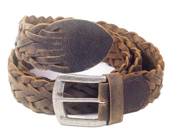 "Genuine Leather Belt Braided Handcrafted by LONDON CRAFTWORK Full Grain Retro Xs-XXL (waist 38"" to 44"") Mens Women Unisex"
