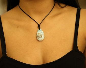 Larimar Stone Pendant Necklace Tear Drop Natural Carved Blue Turquoise Semi Precious, Oval