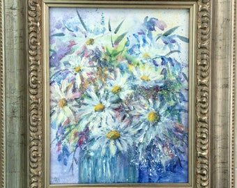 Daisies, original acrylic painting, flower painting, framed painting, painting in ornate frame. ready to hang painting, flowers.