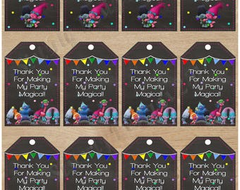 Instant Download|Trolls|Favor Tags|Thank You Tags|Trolls Birthday|Trolls Party|Trolls Thank You Tags|Trolls Favor Tags|Poppy|Branch|DJ Suki|