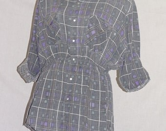 Unusual vintage shirt dress /tunic/ top 1980's reworked grey checked shirt