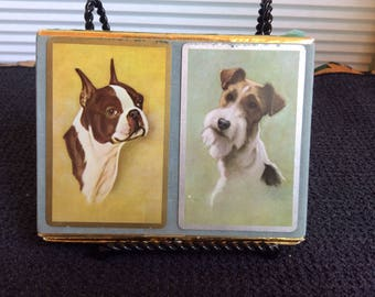 Vintage Playing cards, Wired Hair Terrier and Boxer, by Congress