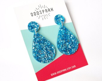 Drop Dangles in Icy Blue Glitter Acrylic