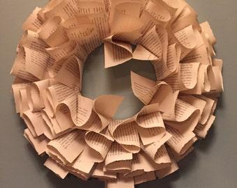 Book Wreath - Book Pages - Book Pages Wreath - Wreath
