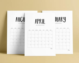 Monthly Calendar Printable | 2017, planner, agenda, monthly plan, calendar, A4, US Letter, wall calendar, calendar poster