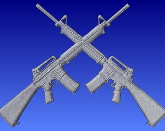 Crossed rifles 3d vector art for cnc projects and sign carving pattern in stl file format