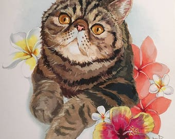 Pet portrait with flowers now available