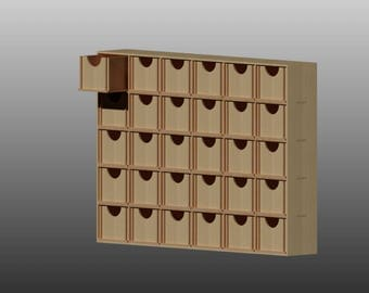 Wooden box with drawers Pattern Vector for Laser Cutting CNC, Instant download