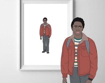 Lucas Stranger Things A4 Art Print