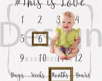 Digital Infant Photography Prop 1 to 12 Months Mat Baby Digital Backdrop Days Weeks Months Years Mat White Canvas Birthday Digital Backdrop