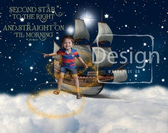 Peter Pan Photography Digital Prop Starry Sky Cloud Second Star to the Right Flying Ship Digital Background Boy Toddler Photography Backdrop