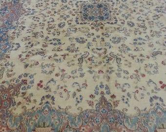 Antique persian carpet 10.01 × 7.7 ft 305 × 230 cm, lavar kerman 10 × 8, very beautiful