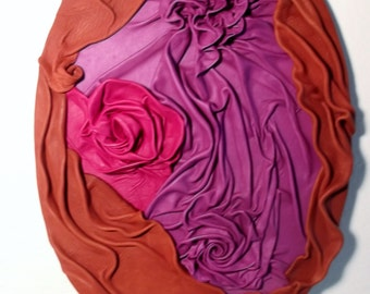 """Bouquet    14""""x 20"""" Leather wall composition"""