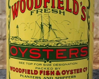 Vintage Oyster Can Woodfield's Fresh Oysters