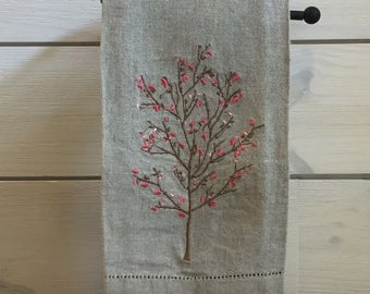 Guest Bathroom Linens - Embroidered Linen Hand Towel - Linen Hemstitched Hand Towel - Linen Hemstitched Guest Towel - Guest Bathroom Decor