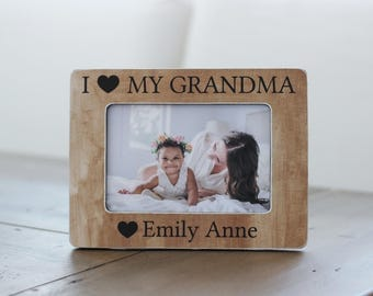 Gift for Grandma Grandmother Personalized Picture Frame Gift I Love My Grandma