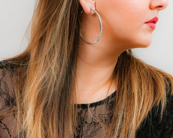 Crystal Open Hoop Earrings