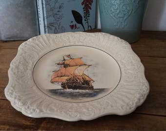 service plate, collection plate, made in England,  boat collection, vintage plate, shabby chic, bohemian decor