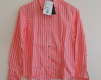 FREE SHIPPING - Vintage MARIMEKKO Woman's Pink striped 100% Cotton long sleeve shirt with metal buttons, size S