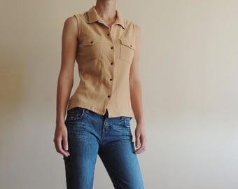 FREE SHIPPING - Vintage PETROLIO Miss beige sleeveless Polo shirt with buttons, size S