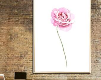 Rose art print Rose watercolor painting Rose poster Flower watercolor print Pink flower decor Pink Rose Rose Illustration Rose Flower