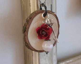 Rose and Key Diffuser Necklace