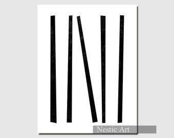Black Stripe - abstract art, Minimalist art. wall art print, contemporary art, Black and White, Zen, Calm, black and white prints, printable