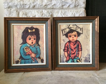 vintage alvaro wall art - boy and girl - kitsch - wedgefield pictures x57