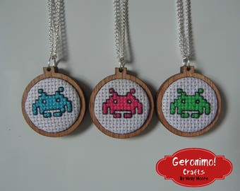 Space Invader Cross Stitch Necklace - Pink/Green/Blue